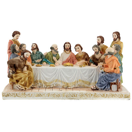 Last Supper statue with golden tablecloth, in resin 15x30x10 cm 1