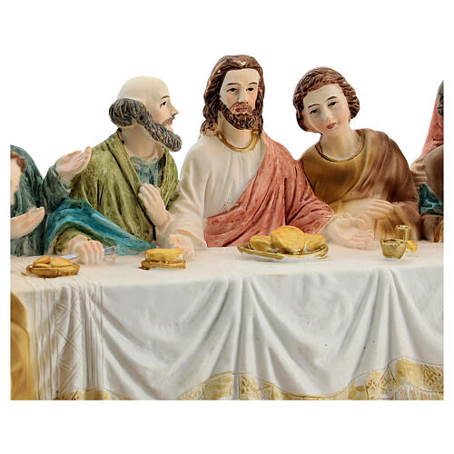 Last Supper statue with golden tablecloth, in resin 15x30x10 cm 2