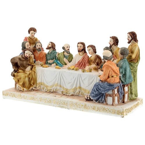 Last Supper statue with golden tablecloth, in resin 15x30x10 cm 3