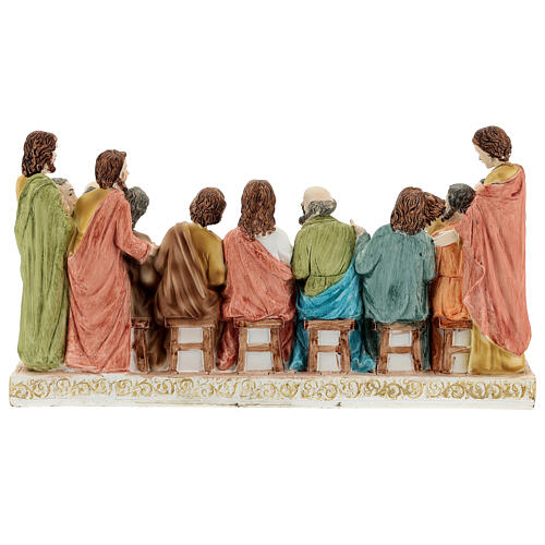 Last Supper statue with golden tablecloth, in resin 15x30x10 cm 6