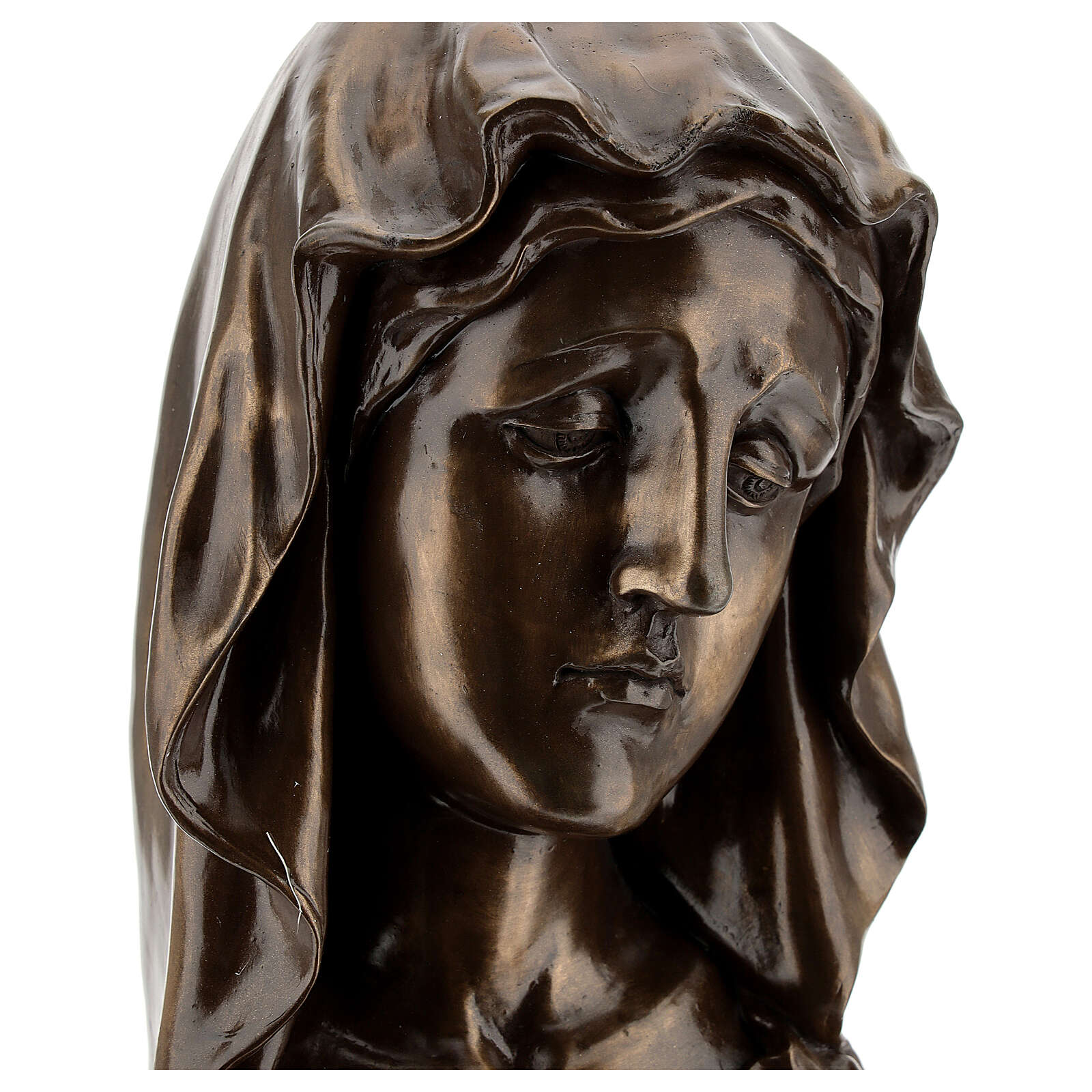 Face of the Virgin Mary in resin with bronze effect 18x11.5 cm cm 4