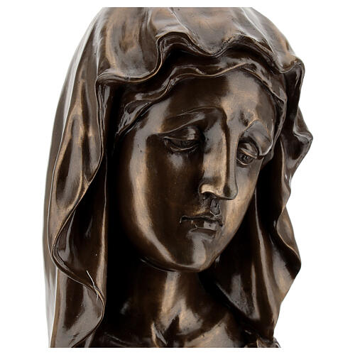 Face of the Virgin Mary in resin with bronze effect 18x11.5 cm cm 2