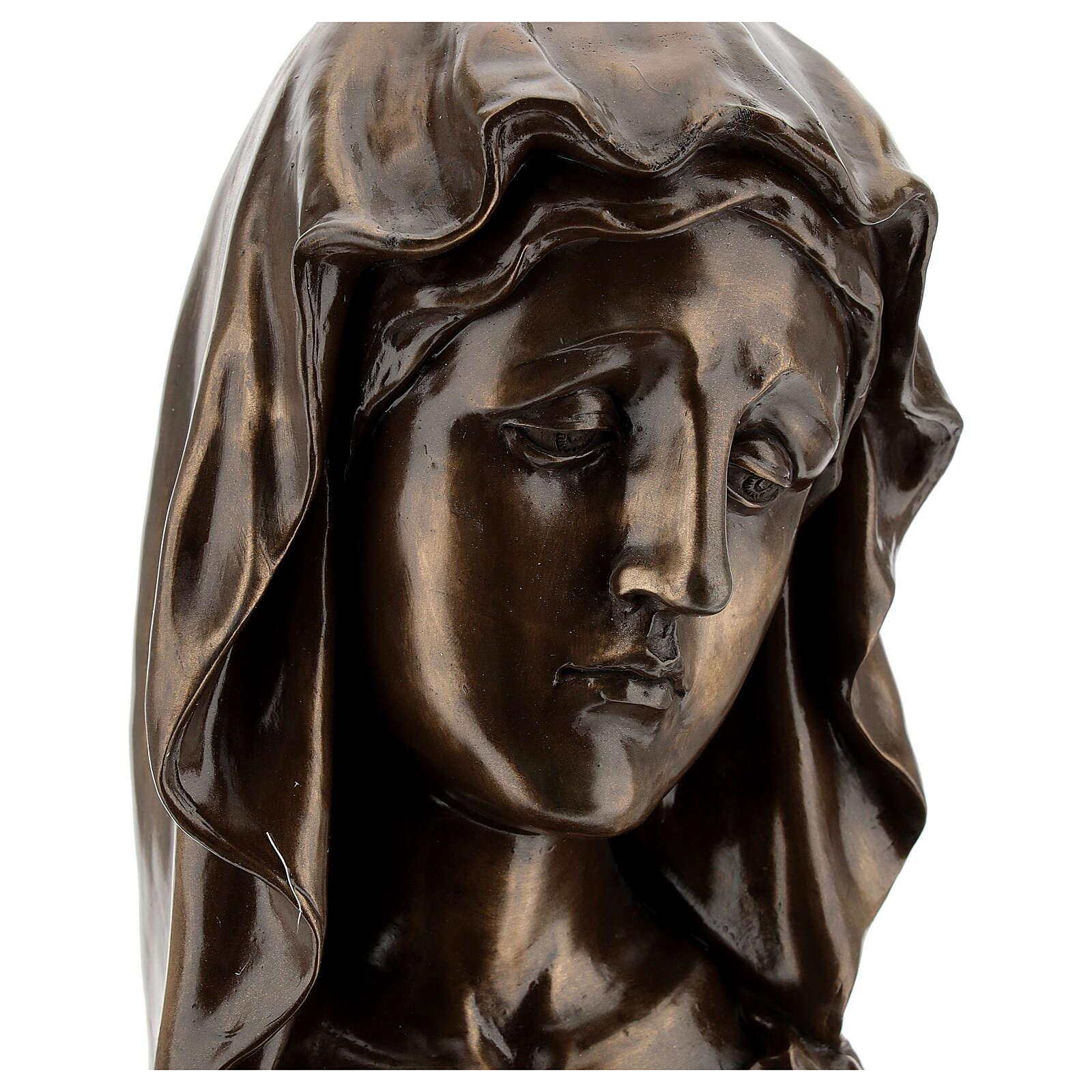 Visage Marie résine effet bronze 20x10 cm 4