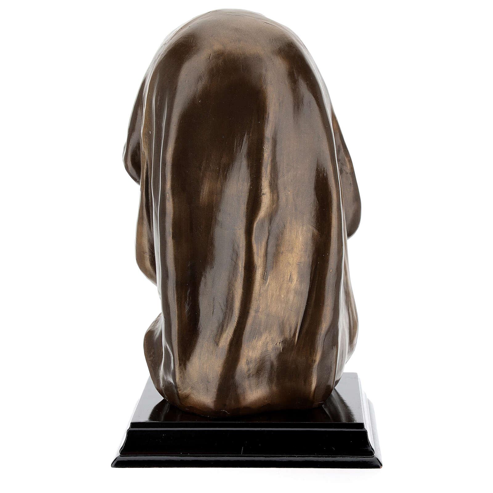 Rosto Virgem Maria resina efeito bronzeado 18x11,5 cm 4