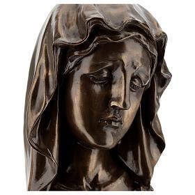 Rosto Virgem Maria resina efeito bronzeado 18x11,5 cm s2
