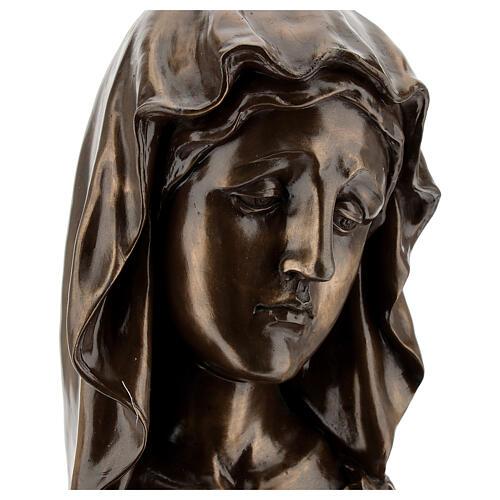 Rosto Virgem Maria resina efeito bronzeado 18x11,5 cm 2