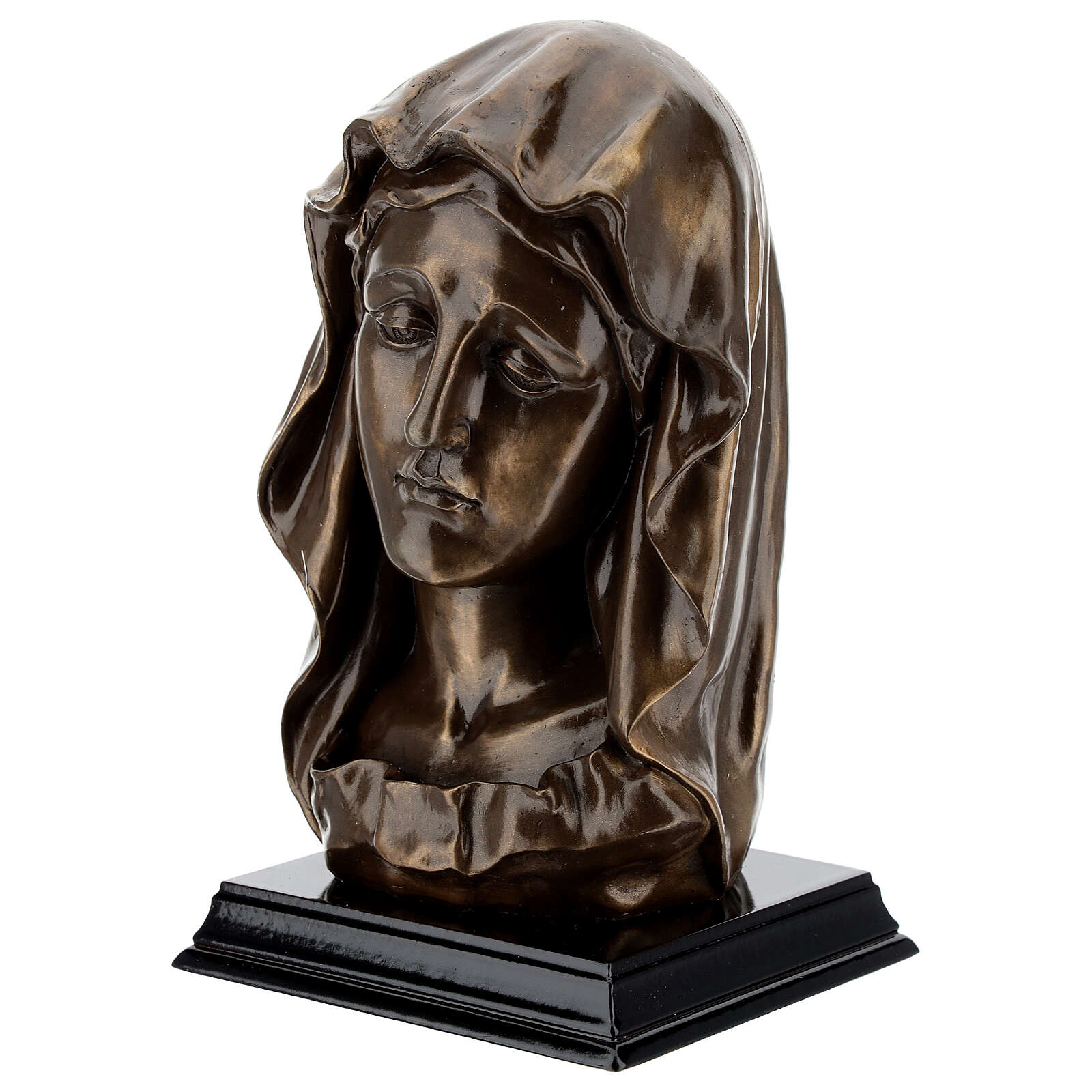 Virgin Mary face statue, in resin bronzed effect 20x10 cm 4