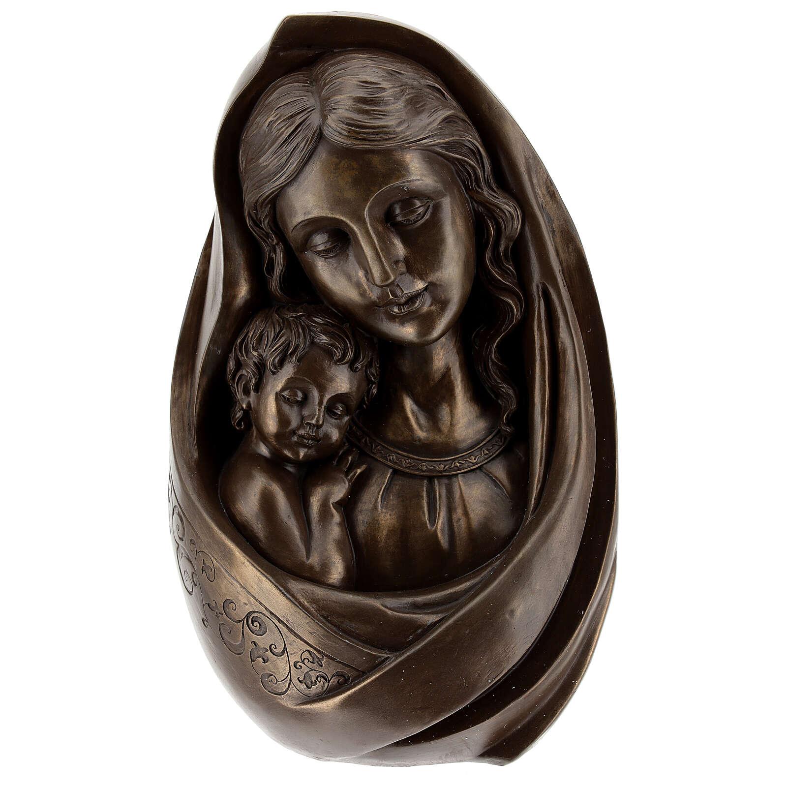 Vierge à l'Enfant buste résine couleur bronze 25x15 cm 4