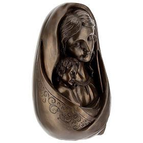 Vierge à l'Enfant buste résine couleur bronze 25x15 cm s5