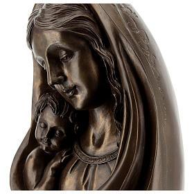 Virgem Maria com Menino Jesus busto resina bronzeada 23x15 cm s2