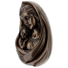 Virgem Maria com Menino Jesus busto resina bronzeada 23x15 cm s3