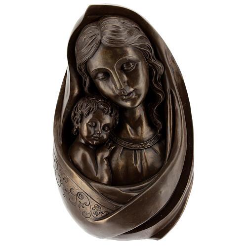 Virgem Maria com Menino Jesus busto resina bronzeada 23x15 cm 1
