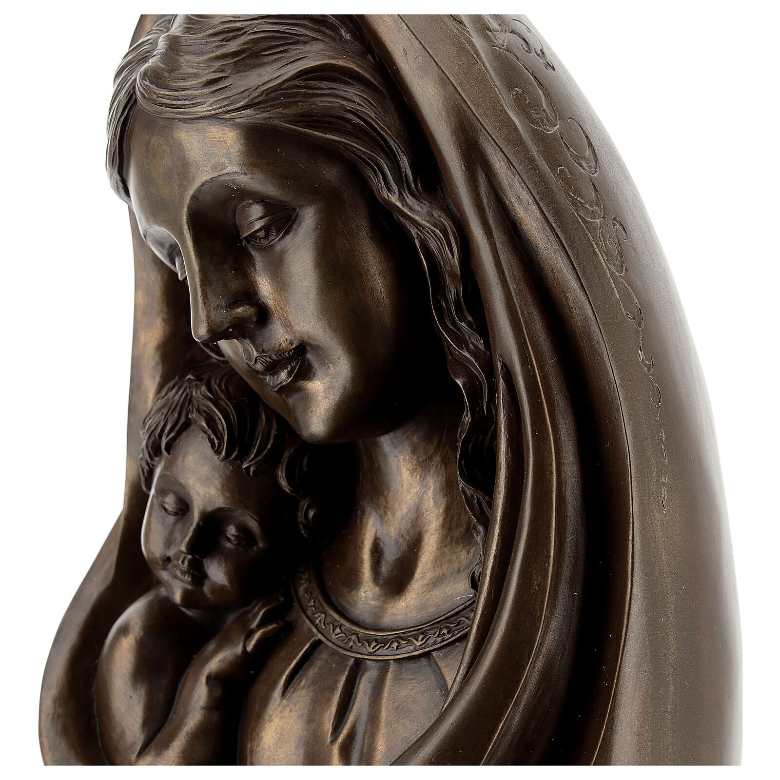 Mary with Child Bust statue, in resin bronze color 25x15 cm 4