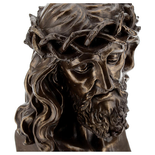 Face Christ crucified with thorn crowns in bronze resin 19x13 cm 2