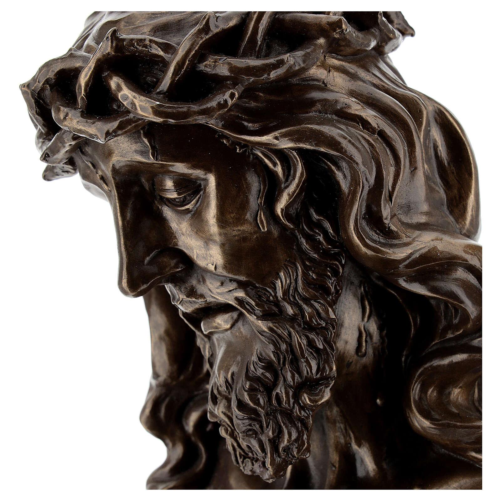 Rostro Cristo crucifijo corona espinas resina bronceada 20x15 cm 4