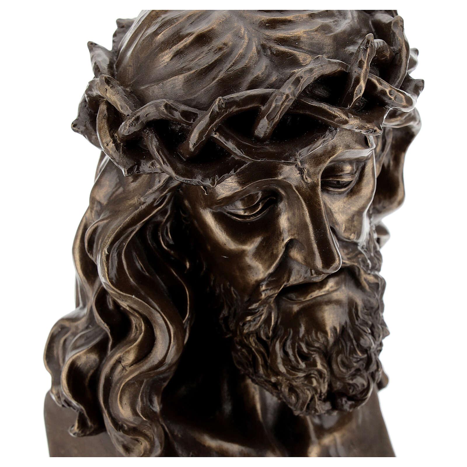 Visage Christ crucifix couronne épines résine effet bronze 20x15 cm 4