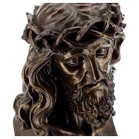 Visage Christ crucifix couronne épines résine effet bronze 20x15 cm s2