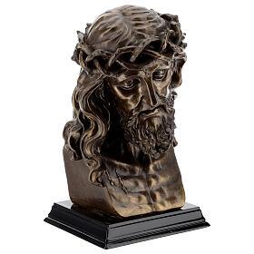 Visage Christ crucifix couronne épines résine effet bronze 20x15 cm s5