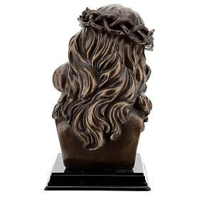 Visage Christ crucifix couronne épines résine effet bronze 20x15 cm s6