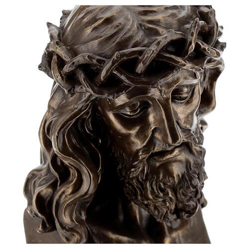 Visage Christ crucifix couronne épines résine effet bronze 20x15 cm 2