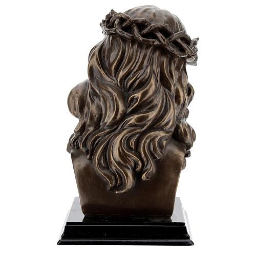 Visage Christ crucifix couronne épines résine effet bronze 20x15 cm 6