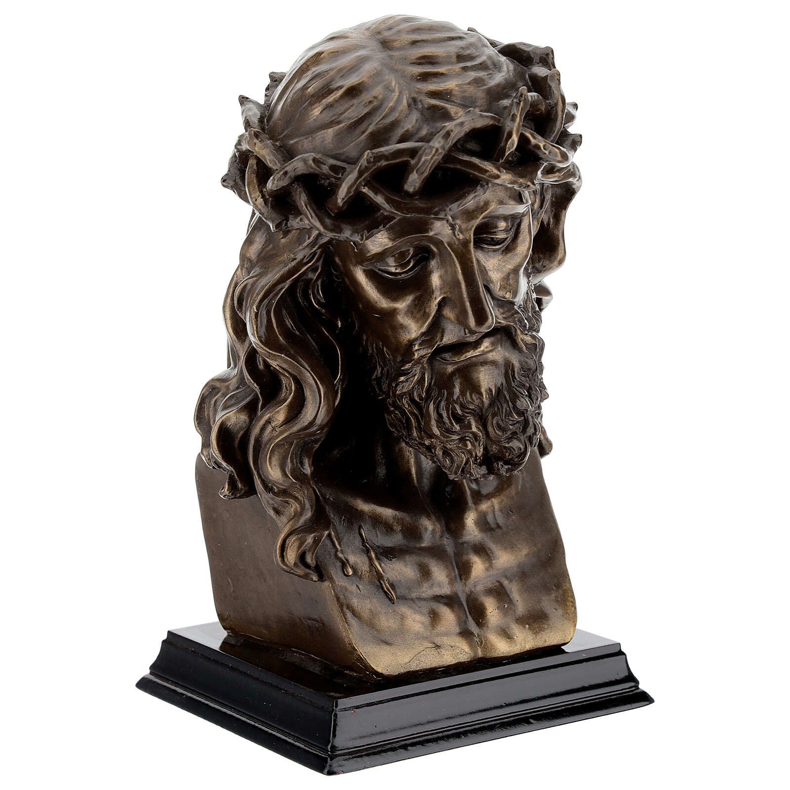 Crucified Jesus Bust with thorn crown, bronzed resin 20x15 cm 4