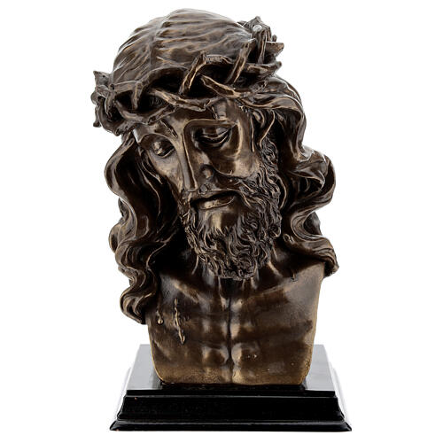 Crucified Jesus Bust with thorn crown, bronzed resin 20x15 cm 1