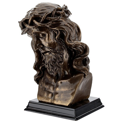 Crucified Jesus Bust with thorn crown, bronzed resin 20x15 cm 3