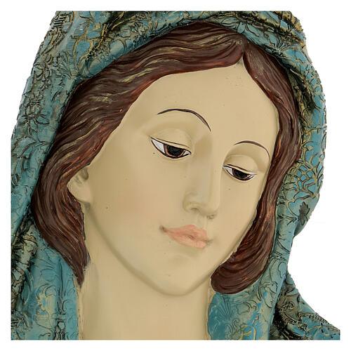 Büste aus Harz Gesicht der Madonna mit goldenen Details, 30x15 cm