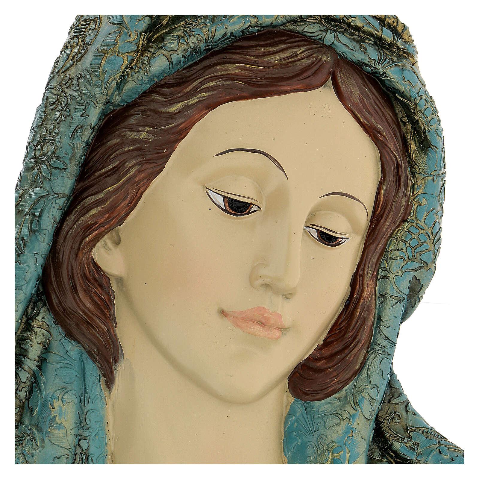 Rostro Virgen motivos dorados resina 30x15 cm 4