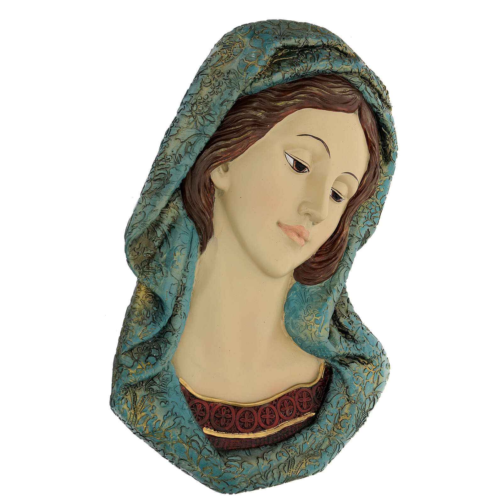 Virgin Mary face statue, with golden resin details 30x15 cm 4