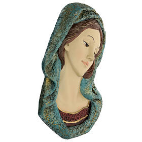 Virgin Mary face statue, with golden resin details 30x15 cm s4