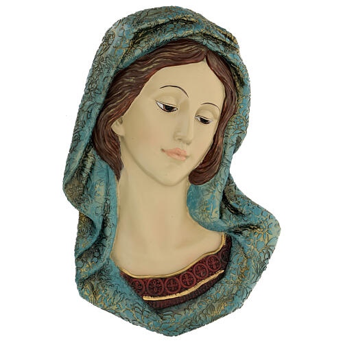 Virgin Mary face statue, with golden resin details 30x15 cm 1
