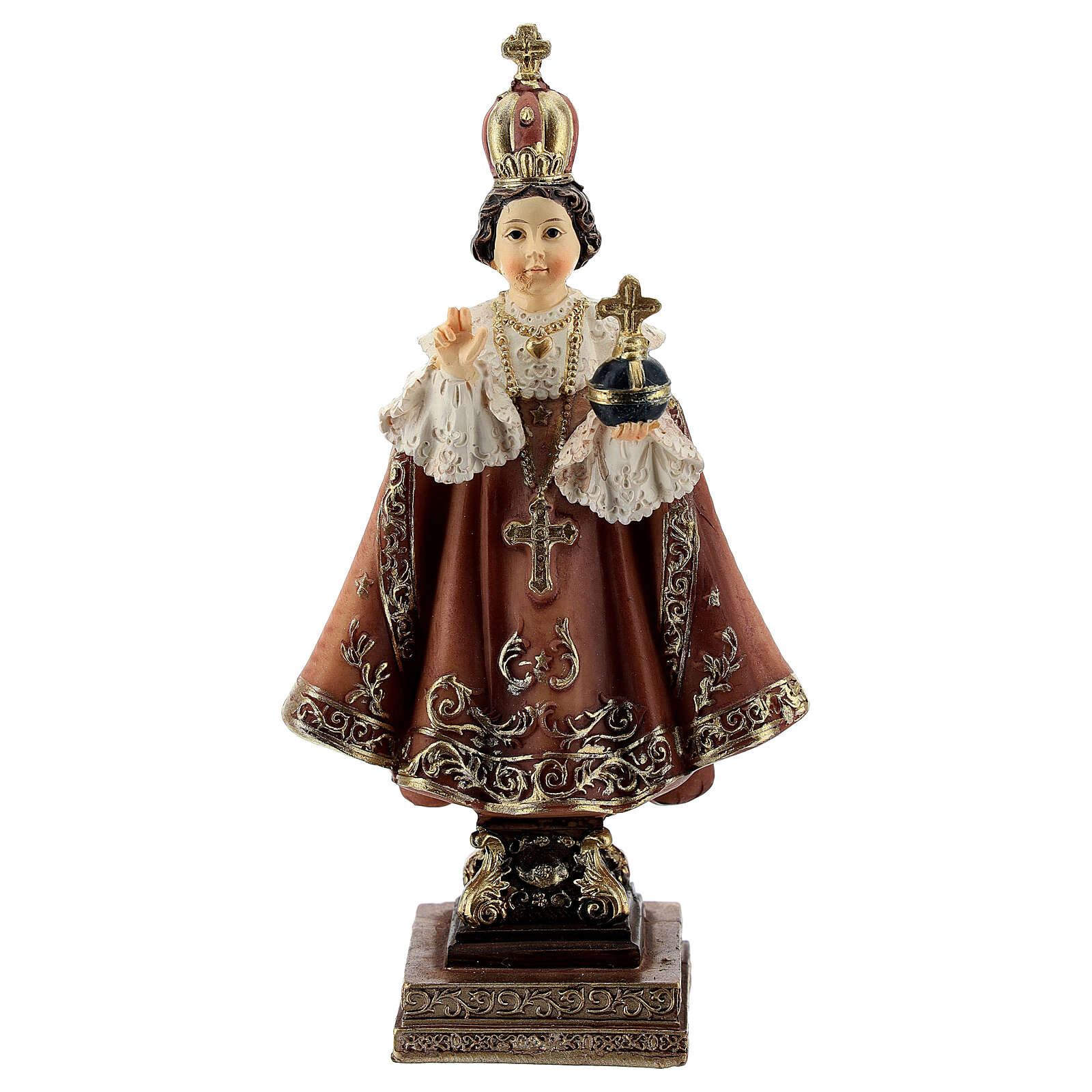 Enfant Jésus de Prague base baroque statue résine 11 cm 4