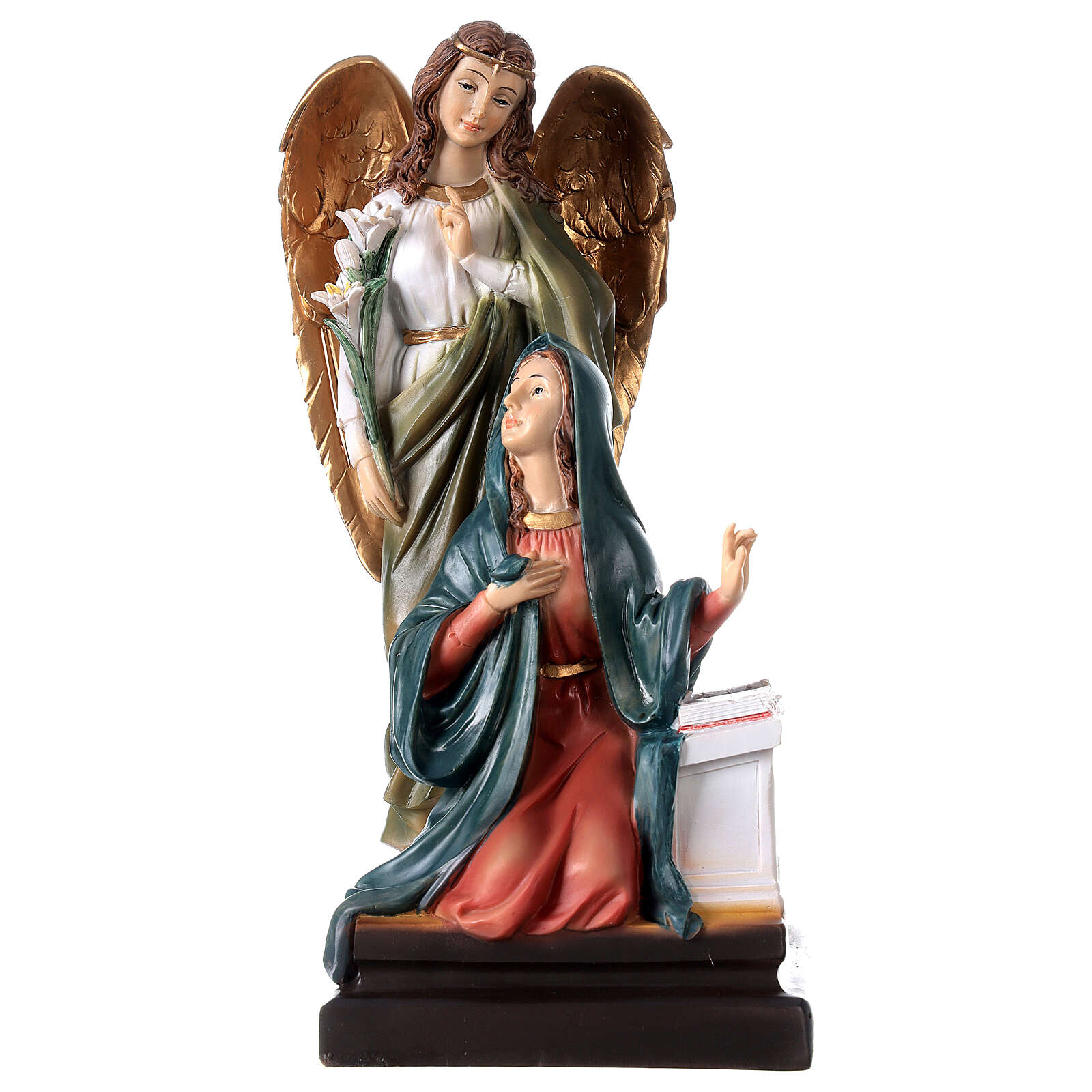Annunciazione resina Maria Arcangelo Gabriele gigli 20,5 cm 4