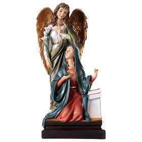 Annunciazione resina Maria Arcangelo Gabriele gigli 20,5 cm s1