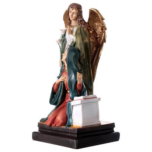 Annunciazione resina Maria Arcangelo Gabriele gigli 20,5 cm 2