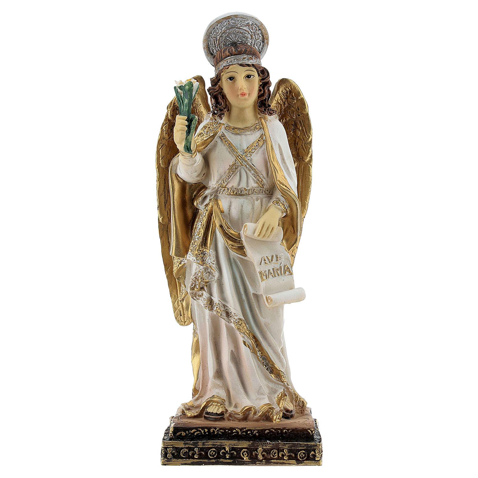 Arcangelo Gabriele pergamena Ave Maria statua resina 15 cm 4