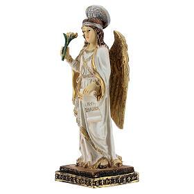 Arcangelo Gabriele pergamena Ave Maria statua resina 15 cm s2