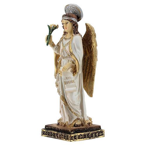 Arcangelo Gabriele pergamena Ave Maria statua resina 15 cm 2