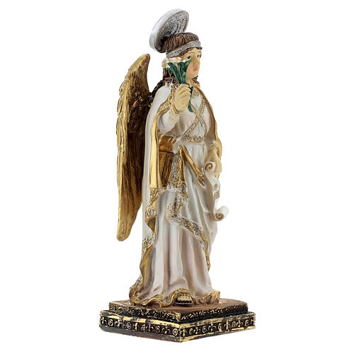 Arcangelo Gabriele pergamena Ave Maria statua resina 15 cm 3