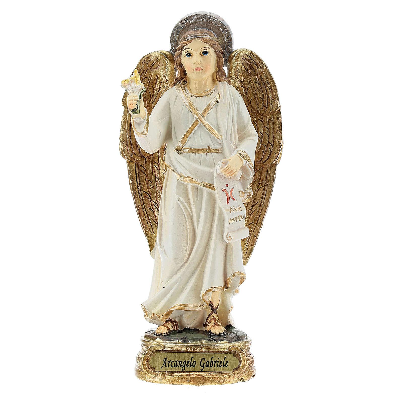 Archange Gabriel blanc or statue résine 12 cm 4