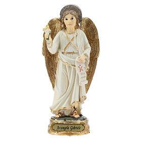 Archange Gabriel blanc or statue résine 12 cm s1