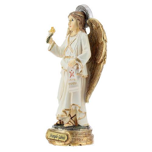 Archange Gabriel blanc or statue résine 12 cm 2