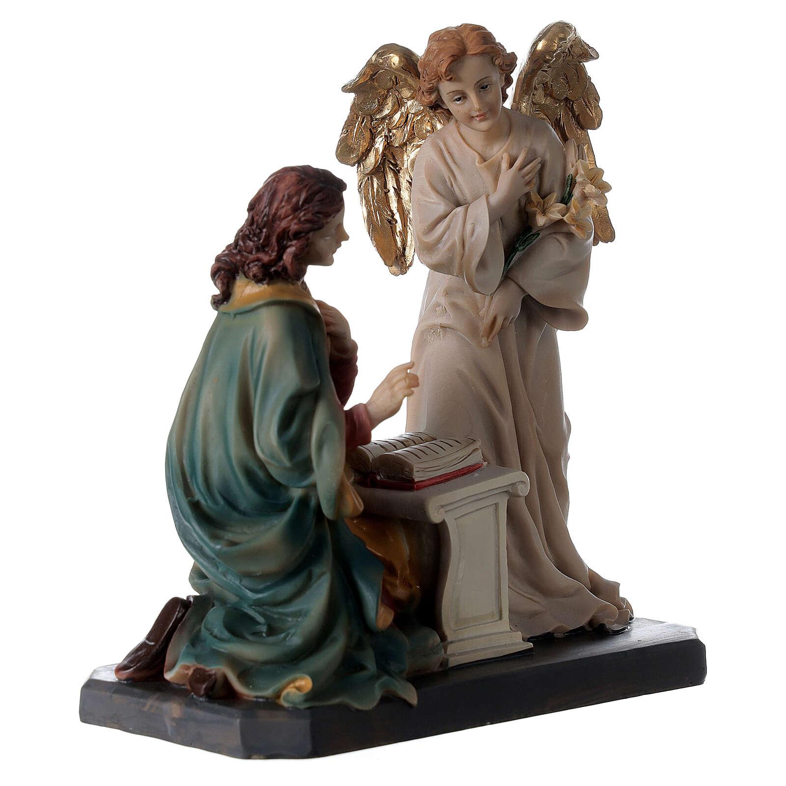 Statua Angelo Gabriele gigli pergamena 20 cm 4