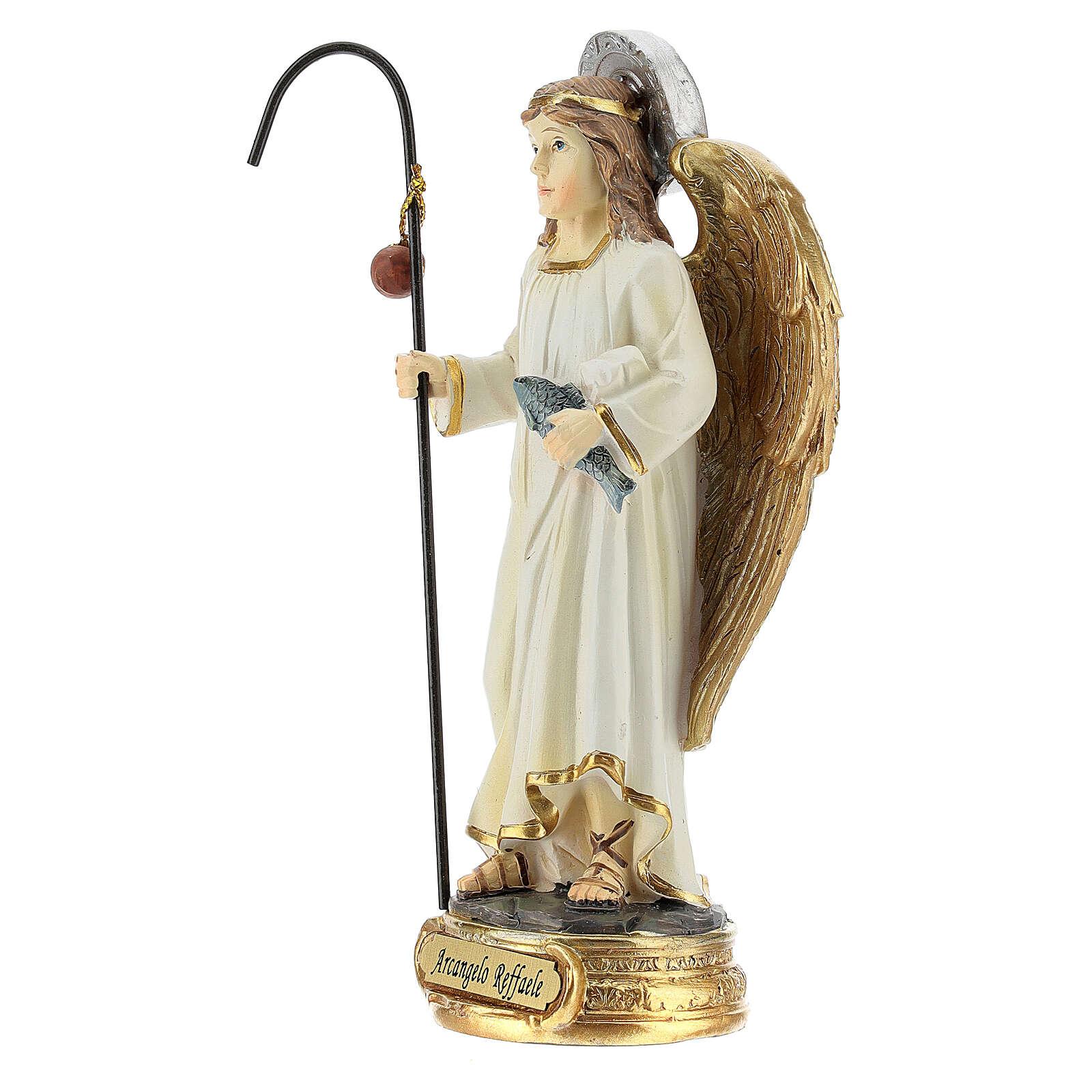 Saint Raphaël Archange poisson statue résine 12 cm 4