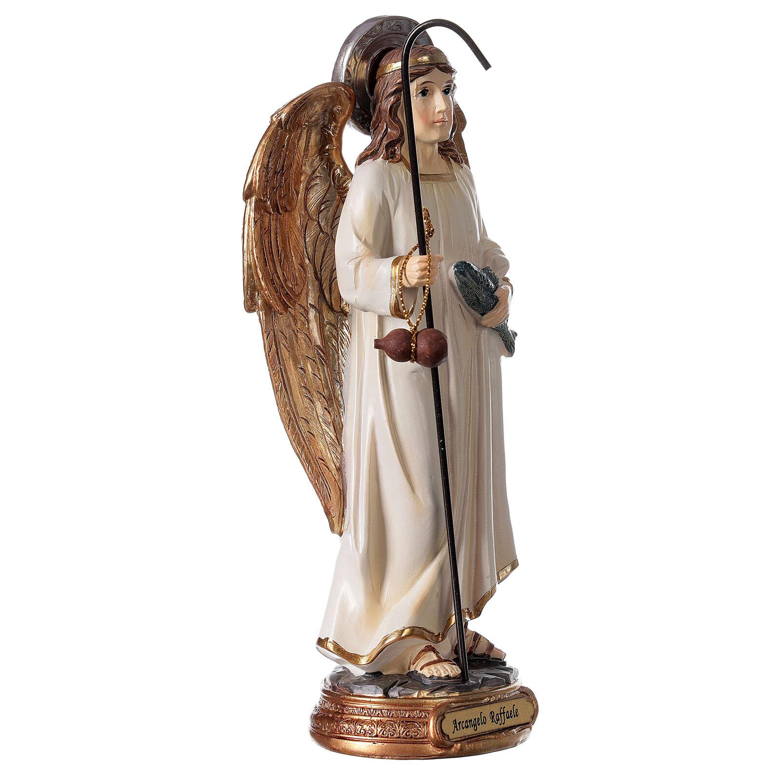 Statue Archange Raphaël blanc or résine 20 cm 4
