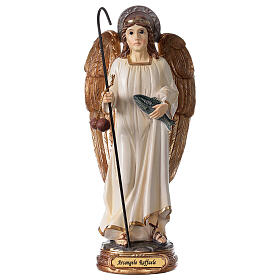 Statue Archange Raphaël blanc or résine 20 cm s1