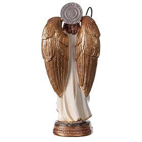 Statue Archange Raphaël blanc or résine 20 cm s4