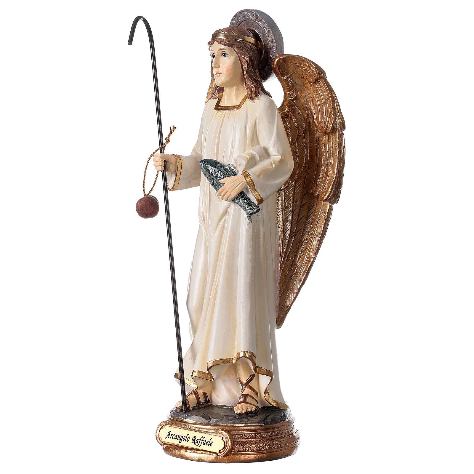 Statua Arcangelo Raffaele bianco oro resina 20 cm 4